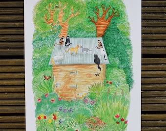 Cats Artwork, Cat Print, Cat Lover Gift, Cat Lover, Feline Friends, A3 Giclee Print, Feline Art
