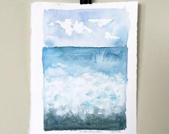 On The Rocky Coast. An original ocean watercolor landscape.