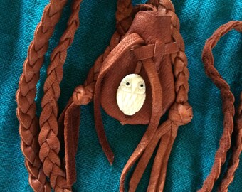 Owl Medicine Bag, Owl Amulet, Brown Deerskin Owl Medicine Bag, Owl Necklace, Braided Neck Strap, Shamanic Tool, Owl Pouch