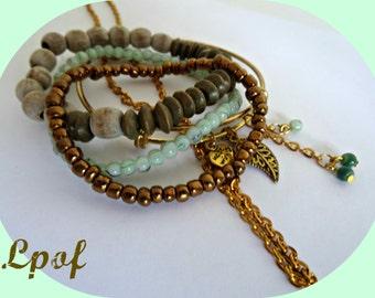 Beaded Bracelet Womens gift Bracelet Womens Jewelry Boho Jewelry Hand Chain Bracelet Slave Bracelet Stacking Bracelet Jewelry Set WodMintGld