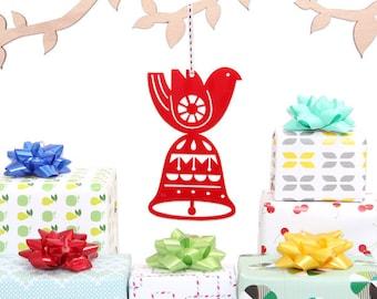 Bird On Bell Christmas Decoration