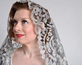 Vintage 1960s Sequin Mantilla Veil - Aurora Borealis - Catholic Bridal Fashions