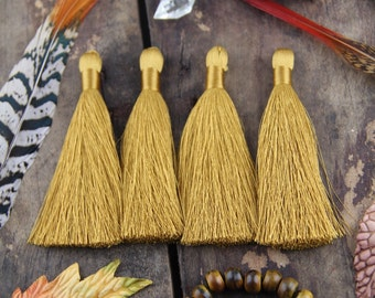 "Oak Buff Golden Silky Luxe Tassels FALL, Autumn Popular Color, 2 Silky Handmade Long Tassels, Designer Jewelry Making Supply, 3.5"", 2 Pieces"