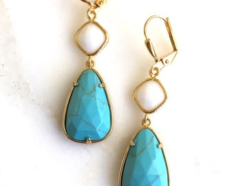 Turquoise and White Dangle Earrings in Gold.  Dangle Earrings. Bridesmaids Jewelry. Earrings.