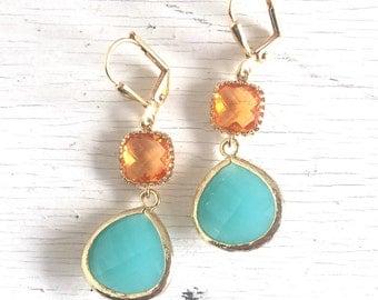 Turquoise Teardrop and Amber Orange Jewel Dangle Earrings in Gold. Bridesmaid Earrings. Spring Fashion Drop Earrings.