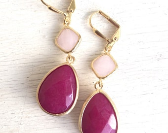 Jewel Dangle Earrings with Fuchsia Teardrop and Soft Pink Jewels. Long Dangle Earrings. Bridesmaid Earrings. Pink Wedding Jewelry.