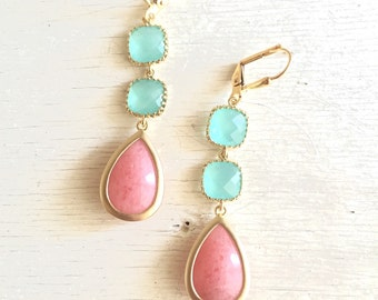 Coral Pink and Aqua Dangle Earrings. Drop Earrings. Long Earrings. Statement Earrings. Bridesmaids Earrings. Wedding Earrings.