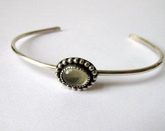 Prehnite Silver Cuff Bracelet