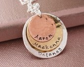 Personalized Layered Hand Stamped Children's or Grandchildren's Necklace- Mom Jewelry, Mommy, Mother, Grandmother, Grandma