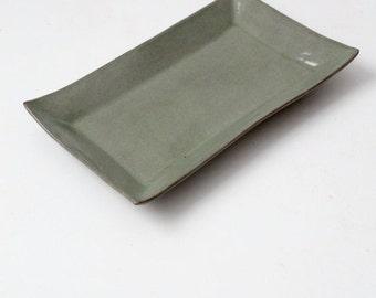SALE vintage ceramic tray, green serving platter