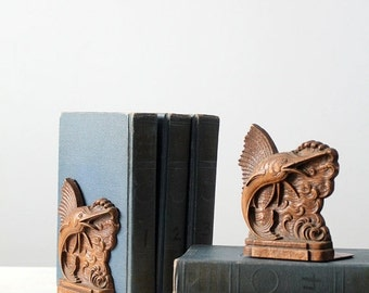 SALE nautical bookends, vintage pressed wood bookends, syroco sailfish book ends