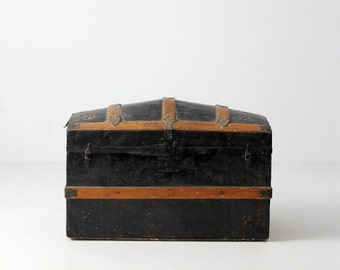 SALE antique dome top trunk, metal covered travel trunk