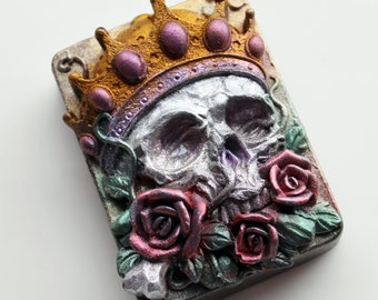 SKULL SOAP, Crowned Skull Soap, Skull with Roses, Novelty Soap, Halloween Soap, Custom Colored, Custom Scented, Sugar Skulls