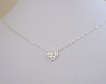 Sweet little floating clear CZ stones HEART sterling silver necklace, delicate love necklace