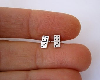 DOMINO sterling silver stud earrings, minimalistic studs