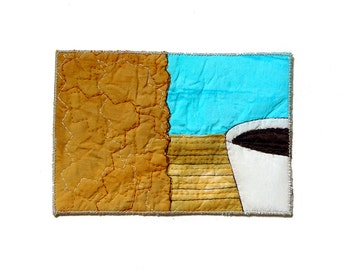 Any occasion art card, abstract art, fabrics postcard, unique card, one of a kind card, ochre blue, coffee cup, greetings card, artful gift