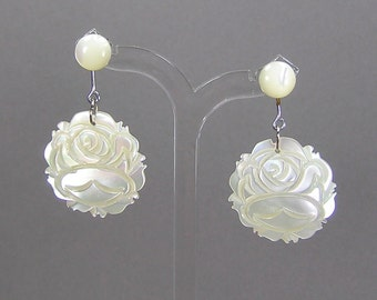 Carved Rose Earrings, Mother of Pearl, Elegant Earrings, Bridal Jewelry, Posts, Feminine, Boho, Rockabilly, Vintage Flower Earrings