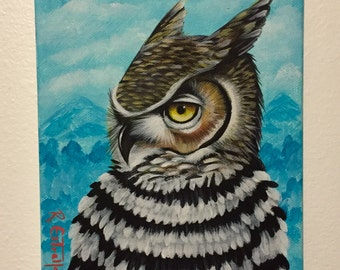 Winter Great Horned Owl 2016. Original Acrylic Painting on Canvas 6x8.