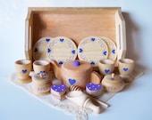 Loving Heart Tea Set (Purple), Wooden Tea Set, Tea Set with Tray or Muslin Bag, Waldorf Toy, Pretend Play,Purple,Pink