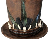Witch Doctor Voodoo Tall Brown Top Hat Gothic Skeleton Bones Steampunk Mens Skull