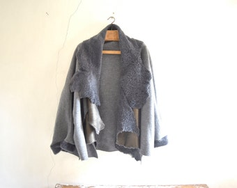Shearling Collar Loose Wool Grey Coat . Wide Sleeve Big Collar Cardigan.  Made to Order