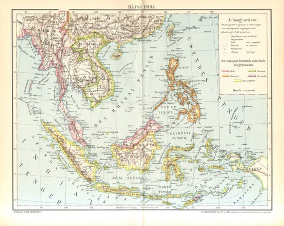 1893 Farther India or Southeast Asia and the Malay Peninsula Original Antique Map