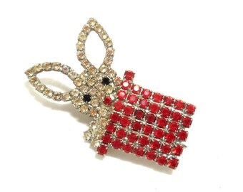 Vintage Brooch Bunny in Hat Rhinestones B&W Butler and Wilson Red White Fine Costume Jewelry Great Collectible/Gift