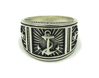 R001594 Sterling Silver Men's Ring Solid 925 Anchor