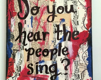 Les Miserables Music art painting broadway singer gift musical theater theatre Les Mis musician singer gift mixed media PRINT