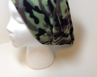 Unisex Slouchy Hat - Camo Hunting cap - Green Camouflage  Fleece - Mens Slouchy Beanie