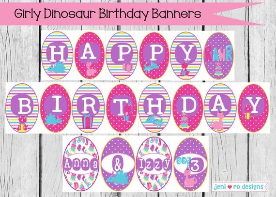 Top Girly Dinosaur Birthday printable banner set - Happy Birthday and  LP48