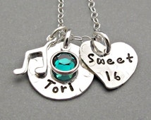 Personalized Sweet 16 Jewelry - Sweet 16 Gift - Gift for Daughter - Hand Stamped Jewelry - Custom Jewelry - Special Occasion Jewelry - Charm