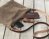 Waxed Canvas Cross Body Purse // Messenger Bag // STANDARD // OAK