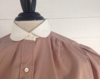 Vintage LATTE-Colored Blouse w White Peter Pan Collar and Cuffs