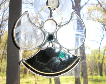 LT Stained glass emerald green Angel suncatcher ornament light catcher this is a dark olive green