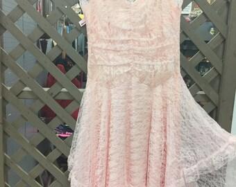 Pink Vintage Lace Dress
