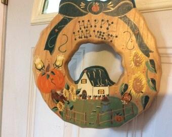 Handmade in Mexico wooden  door wreath Happy Harvest Pumpkin Harvest Scenery darling