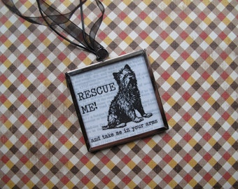Rescue Dog Charm Necklace Mixed Media Vintage Photo Paper Glass Locket Terrier Mutt Mixed Breed