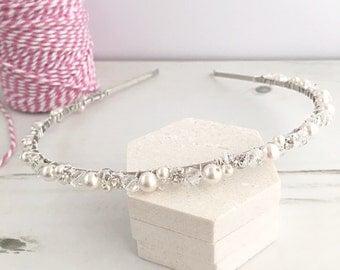 Pearl Bridal Headband, Diamante Headband, Bridal Headdress, Pearl and Crystal Headband, Wedding Headband, Bridesmaid Headband, Pearl Tiara