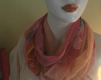 Tangerine Sunset Handpainted Chiffon by The Silk Maid