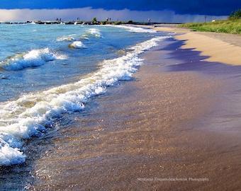 Blue, Beach,  Nautical, Navy, Ludington, Michigan,  Nature Photography