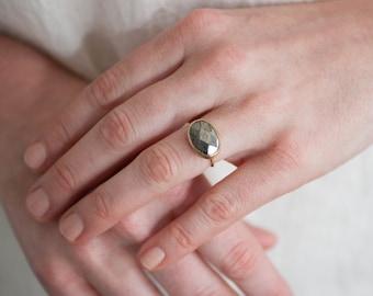 Faceted Peruvian Pyrite Bezel Set Ring