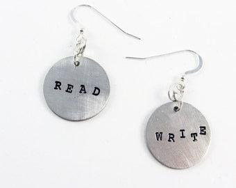Read & Write Earrings (Writer Jewelry Gift, Teacher Appreciation for Back to School)
