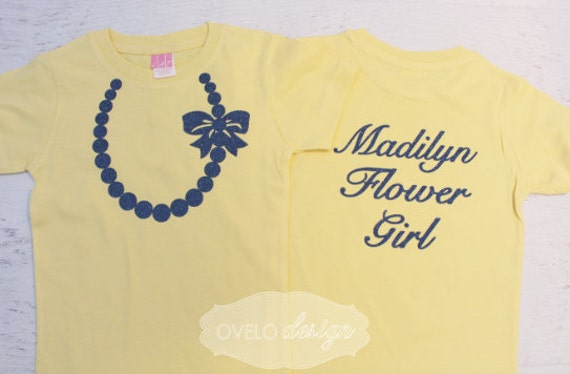 Wedding Flower Girl T-shirt on back Pearl Necklace on Front