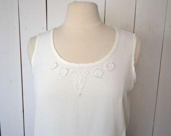 Floral Lace Blouse - Early 90s Loose Fit Boxy Tank Top - Vintage White Cami Boho Folk Blouse - Medium M