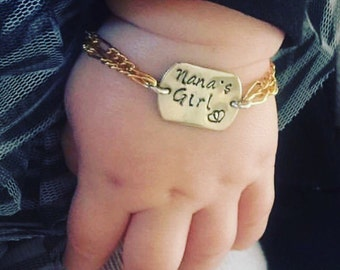 14kt Gold filled and silver or all silver adjustable infant to toddler baby bracelet. Custom stamped with name, date etc..