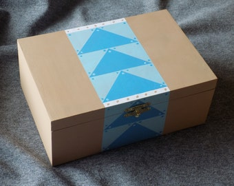 Flying Geese Quilt Themed Box in Shades of Turquoise