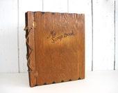 Vintage Wooden Scrapbook Wood Scrap Book Cover Photo Album Leather Wood Burned Letters Woodland Rustic Wedding Shower Gift