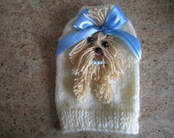 Dog Sweater Yorkie Cream With Light Blue Bow By Nina's Couture Closet