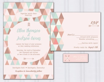 Geometric Pattern Wedding Invitations, Triangle Invite Set, Native Arrow Wedding Invitation, Rose Gold and Mint Wedding, SAMPLE